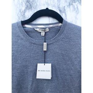 Burberry NWT Gray Merino Wool Crewneck Sweater